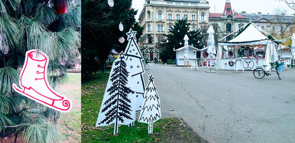 Christmas Market Zagreb Illustration