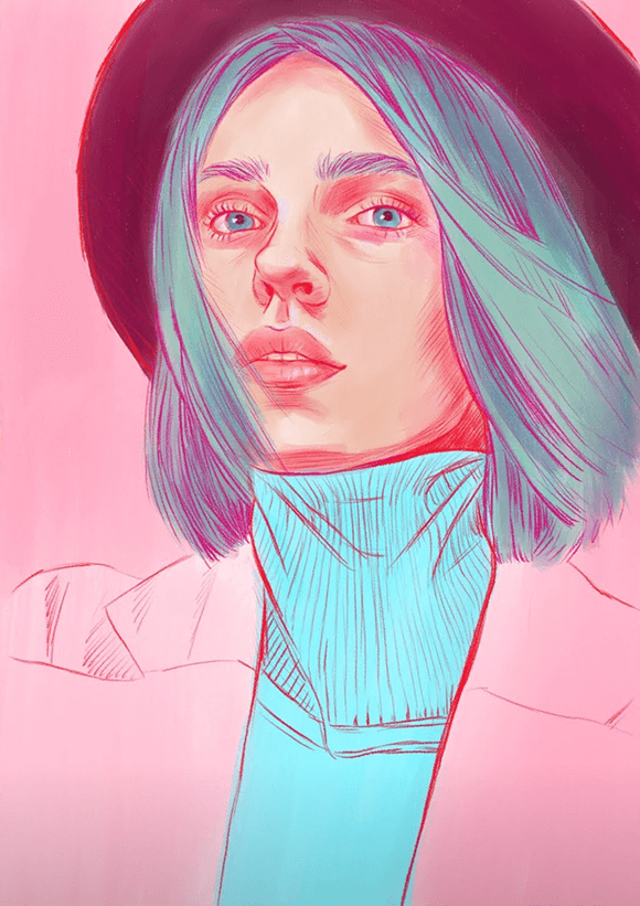 Girl with a Hat Illustration