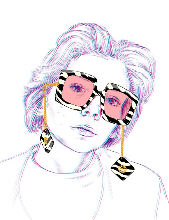 Gucci Glasses Fashion Illustration