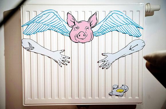 Slap & Stick Art Installation Illustration