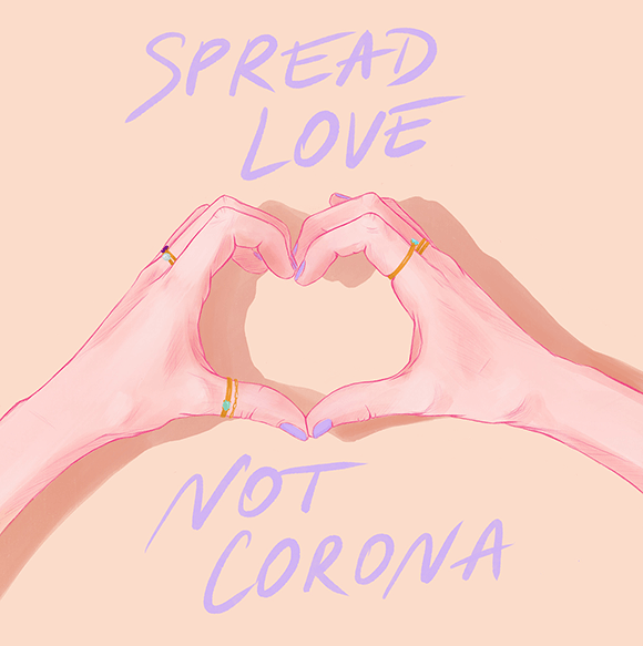 Spread Love Not Corona Illustration
